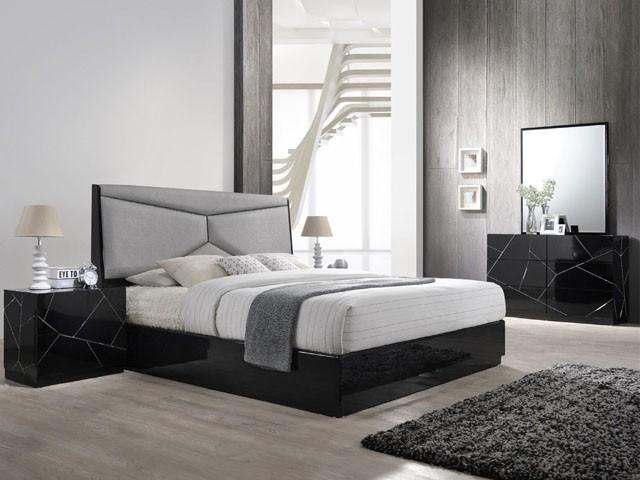 Chambre A Coucher Complete 161 1 8 2 0m Couleur Noir Gris Hg