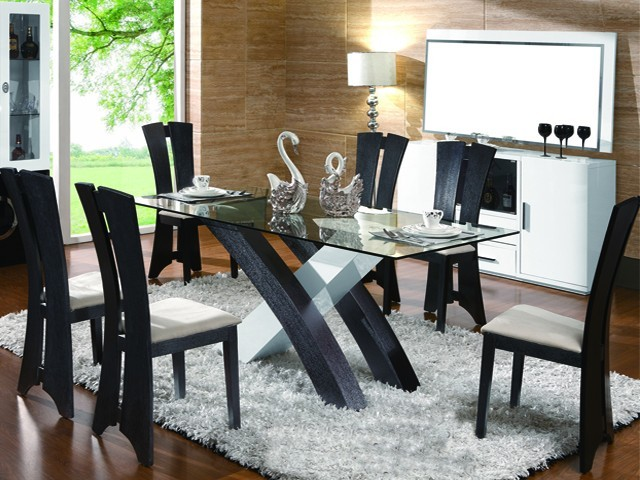 Table A Manger 6 Places G18 4048dt 1800 900 760 Noire Blanc